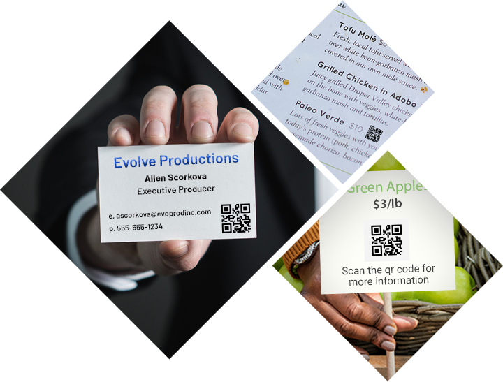 QR Examples in the Real World; Business cards, menus, produce label